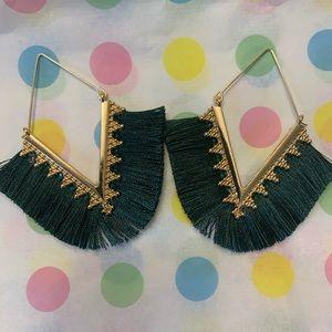 Gold Fringe Dangle Earrings Dark Green NWOT